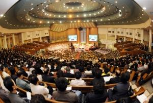Congregados de una iglesia protestante en Seul.