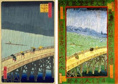 Ilustración 1 y 2. Ukiyo-e de Hiroshige.. Vincent van Gogh, El Puente en la Lluvia, 1887. Óleo.