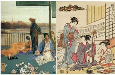 Ilustración 3 y 4: El balcón, James McNeill Wisthler, 1867- 1868, 62.1 x 32.15 cm. Kiyonaga Toorii, tríptico original de un restaurante de Yamabushi, fecha desconocida, 33 x 25 cm, sobre madera en colores, colección Koshiro Mitsuno. Fuente: elaboración propia.