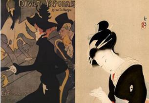 lustración 5 y 6: Diván Japonais, Henrik Tolouse Lautrec, 1893-1894, cartel para el club Diván Japonais. Geisha in the northen quarter, Kitag fecha desconocida. Fuente: elaboración propia.