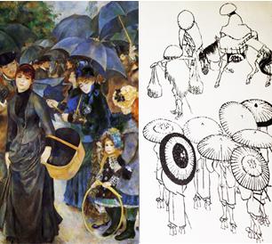 Ilustración 7 y 8: Paraguas, Auguste Renoir, 1881-1883, 182 x 116 cm, The National Gallery, Londres. Inspirado en Paraguas, Hokusai Katsushika, extracto de la colección Mangwa,  fecha desconocida, 18 x 12.5 cm.  Utamaro, Ukiyo-e. Fuente: elaboración propia.