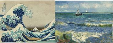 Ilustración 9 y 10: La gran ola, Hokusai. Cuadro con temática marina, Van Gogh