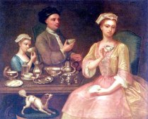 Richard Collins, A Family of Three at Tea, 1727. Font: Dory's Historicals